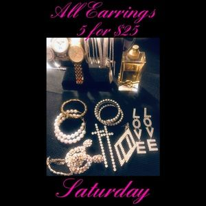 All Earrings 5 for $25 this Saturday